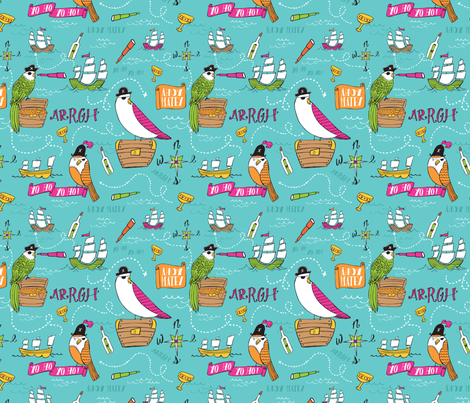 Pirate Birds fabric by katievaz on Spoonflower - custom fabric
