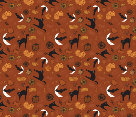 Black Cat Halloween fabric by katievaz on Spoonflower - custom fabric