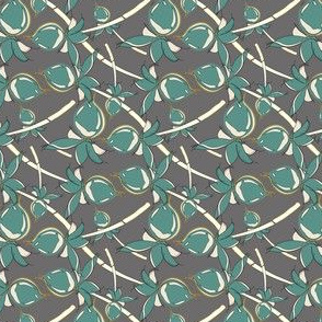 Tropical Plant Berry || Leaf Leaves Teal Green Gray grey Gold Mustard Yellow Tree Forest  _ Miss Chiff Designs