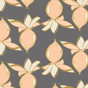 Peach berries on slate gray_Miss Chiff Designs