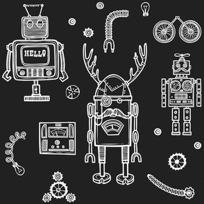 Hello Robots in Charcoal Black Background