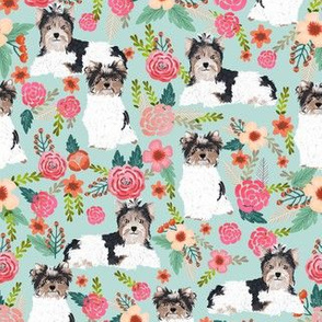 biewer terrier dogs mint florals cute toy dogs floral fabric cute toy dog breeds designs