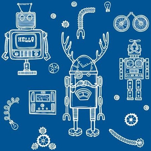 Hello Robots in Blue Background