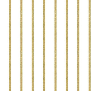 "1"" Gold Glitter Stripe on White"
