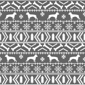 Boston Terrier fair isle fabric christmas xmas holiday dogs fabric cute dog designs