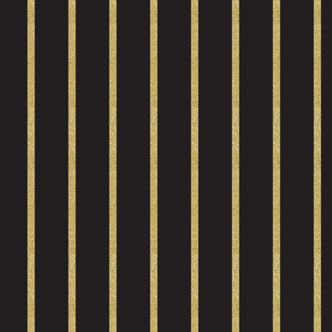 Glitter Gold Stripe on Black fabric by misschiffdesigns on Spoonflower - custom fabric