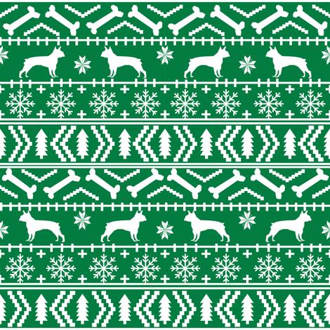 Boston Terrier fair isle fabric green christmas fabrics cute ...