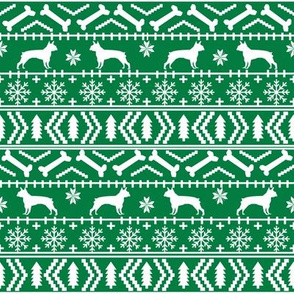 Boston Terrier fair isle fabric green christmas fabrics cute christmas dog design