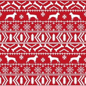 Boston Terrier Fair Isle fabric dogs fabric cute dog christmas fabric red fair isle design fabrics