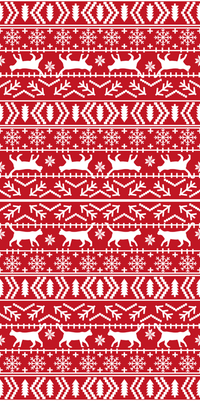 christmas cat fair isle fabric red christmas fabric sweater fabric ...