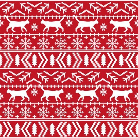 christmas cat fair isle fabric red christmas fabric sweater fabric cute sweater fabrics christmas reds xmas holiday design fabric by petfriendly on Spoonflower - custom fabric