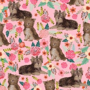 chocolate yorkie fabric vintage florals fabric yorkshire terrier fabrics cute florals fabric