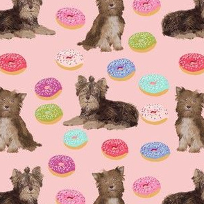 chocolate yorkie fabric cute xmas pink fabric donuts fabric cute donut design holiday christmas fabrics