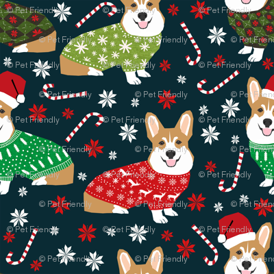 corgi holiday sweaters fabric xmas holiday fabric cute christmas corgis fabric cute corgi design