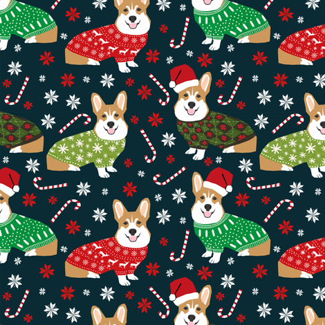 corgi holiday sweaters fabric xmas holiday fabric cute christmas corgis fabric cute corgi design fabric by petfriendly on Spoonflower - custom fabric