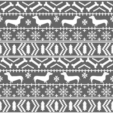 doxie christmas sweater dachshund fair isle fabric christmas ...