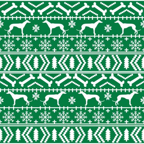 greyhounds fair isle fabric cute xmas holiday christmas fabrics christmas dogs fabric cute dogs fabric ugly sweaters fabric fabric by petfriendly on Spoonflower - custom fabric