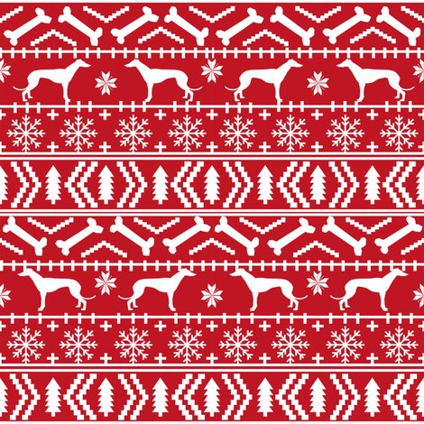 greyhound fair isle fabric cute christmas ugly sweater design ...