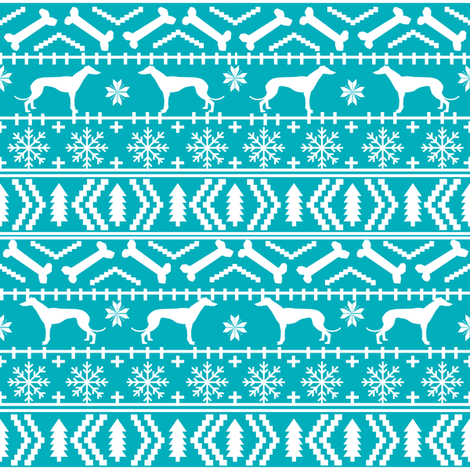 greyhound fair isle fabric cute holiday xmas christmas fabrics dog ...