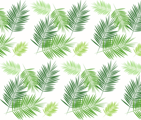 Palm Leaf Green On White Greenery Tropical Palm Leaves