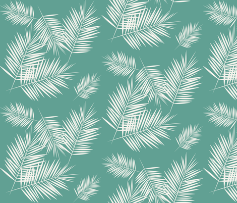 Palm leaf - tropical aqua green Palm leaves Palm tree tropical summer fun  fabric by sunny_afternoon on Spoonflower - custom fabric