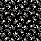 Trotting Boston Terriers and paw prints - black