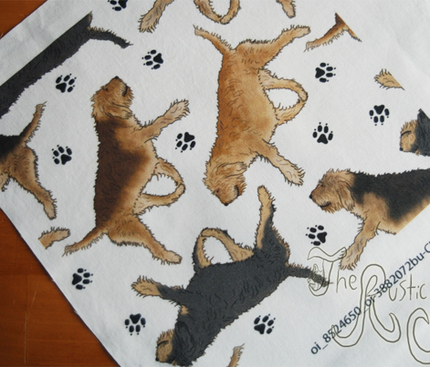 Trotting Otterhounds and paw prints - white