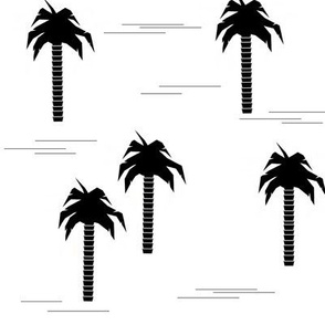 Palm tree - black and white monochrome palm tree geometric tropical