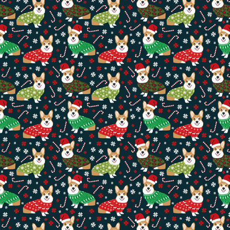 christmas corgi fabric cute corgi sweaters ugly christmas sweaters fair isle fabric cute christmas fabrics fabric by petfriendly on Spoonflower - custom fabric