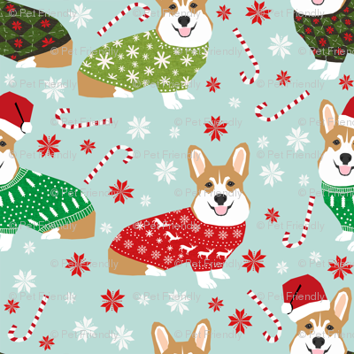 corgi christmas fabric cute xmas holiday ugly sweater fabric christmas sweater fabric cute red and green fabric