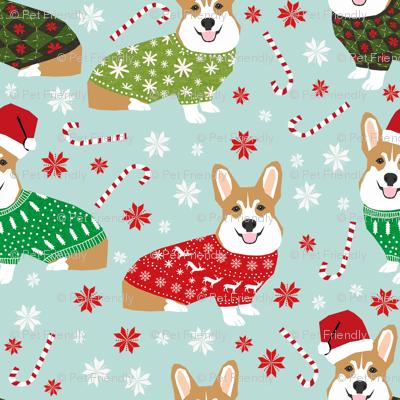 corgi christmas fabric cute xmas holiday ugly sweater fabric christmas sweater fabric cute red and green - Corgi Christmas