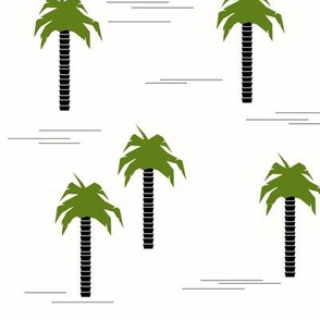 Palm trees - monochrome with green tropical tree