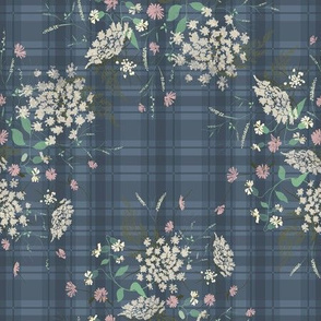 Meadow bouquet on blue plaid