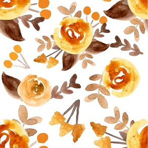 mustard and brown floral