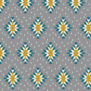 Tribal Diamond Teal Gray