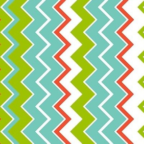 Seaside Stripes, turquoise, coral, green, white
