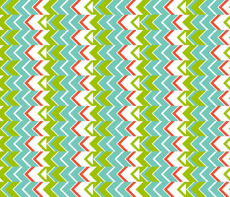 Zipper Stripe, turquoise, green, coral, white - large fabric by maryyx on Spoonflower - custom fabric
