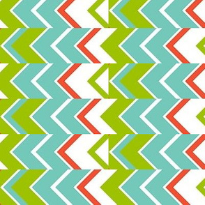 Zipper Stripe, turquoise, green, coral, white