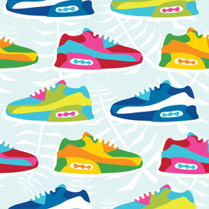 Colorful hipster sneaker shoes on blue