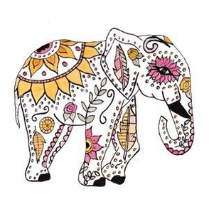 Boho Watercolor Elephant