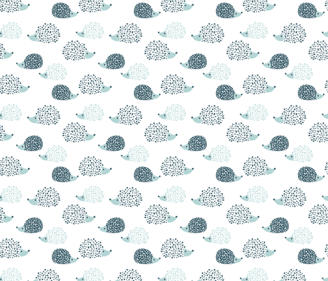 Scandinavian sweet hedgehog illustration for kids gender neutral ice blue mint fabric by littlesmilemakers on Spoonflower - custom fabric