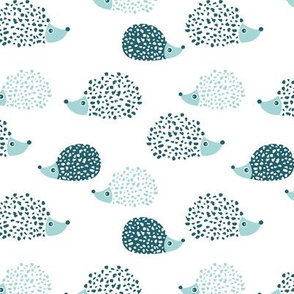 Scandinavian sweet hedgehog illustration for kids gender neutral ice blue mint
