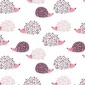 Scandinavian sweet hedgehog illustration for kids girls pink