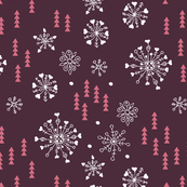 Pine trees and snow flakes winter wonderland and christmas holidays theme pink
