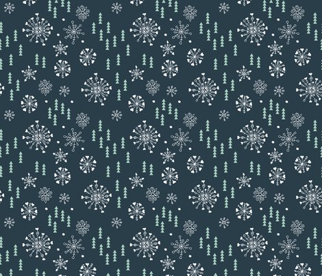 Pine trees and snow flakes winter wonderland and christmas holidays theme blue mint fabric by littlesmilemakers on Spoonflower - custom fabric