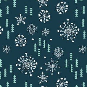 Pine trees and snow flakes winter wonderland and christmas holidays theme blue mint