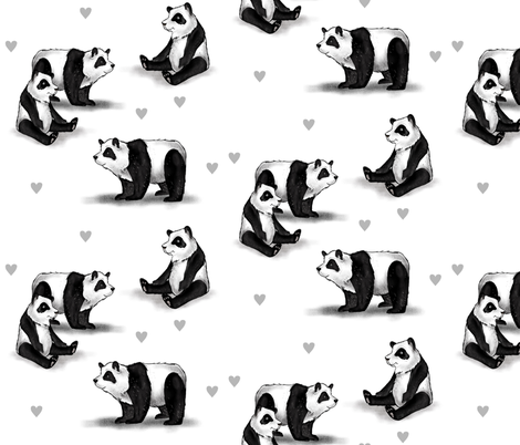 Pandas and Hearts fabric by taraput on Spoonflower - custom fabric