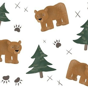 Bears, Trees, and Paw Prints - Smaller Scale