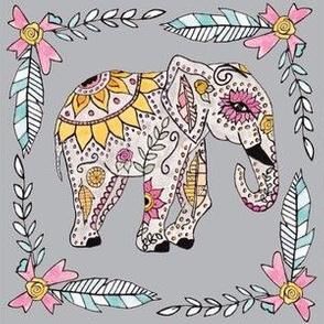 Boho Elephant in Gray