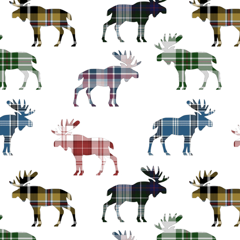 Plaid Moose I  fabric by thinlinetextiles on Spoonflower - custom fabric